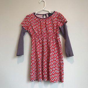 Mini boden floral striped long sleeve dress 5-6